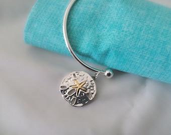 Bangle sand dollar bracelet, bangle with sand dollar charm