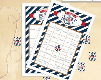 Nautical Baby Shower Bingo 30 Cards Anchor INSTANT DOWNLOAD - you print