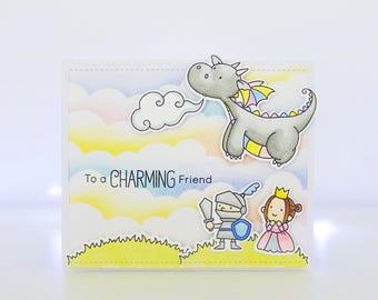 Handmade Card - To A Charming Friend - MFT Magical Dragons