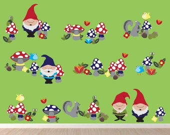 Garden Gnomes Decal FABRIC Decals Reusable Non-toxic NO PVCs, WD14