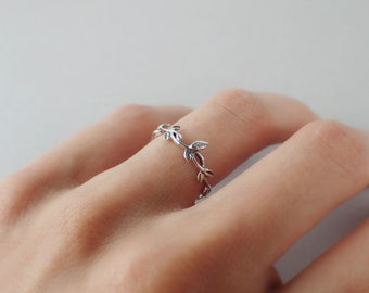 925 Sterling Silver Boho Nature and Branch Minimalist Ring