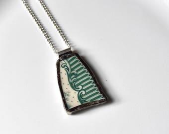 Broken China Jewelry Pendant - Green and White