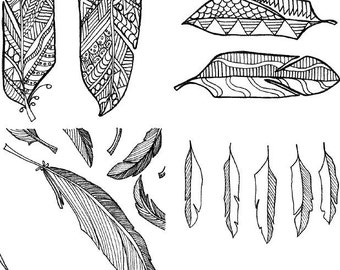 Mini coloring pages : Feathers