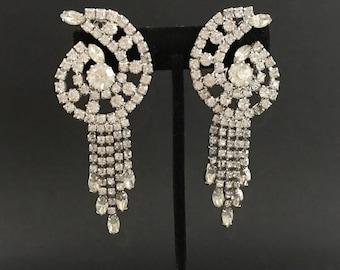Hattie Carnegie Earrings, Vintage Jewelry, Long Rhinestone Earrings, Clip On Tassel Earrings 50s Glamour Earrings Designer Vintage Earrings