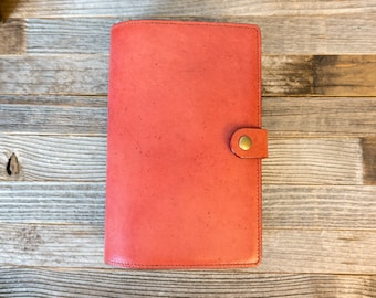 Large Moleskine Classic~Shinola~Leather Cover~Journal 5x8.25~Aged~Patina~Personalize~Penholder~Refills~Pebble Brick Red with Navy interior