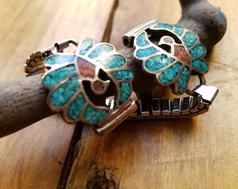 Vintage southwestern Navajo women's watch band Silver & Turquoise