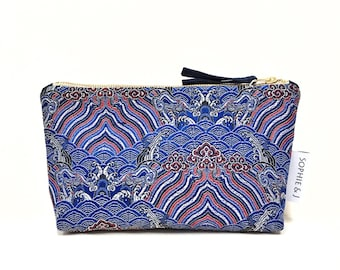 Chinese brocade waves zip pouch purse, makeup bag / navy blue, red