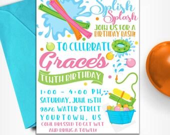 Water Party Invitation | Pool Party Invitation | Splash Party Invitation | Water Wars | Water Party | Digital Invitation | Design 17017