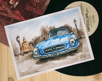 "Original watercolor painting ""Mersedes"", car, art, free shipping , A5"