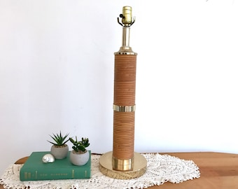 Mid Century Danish Modern Style Reed Bamboo Rattan Brass Table Lamp