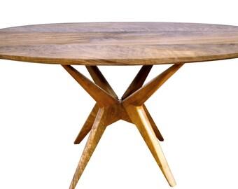 Oval Walnut Coffee table, Modern table, Solid Walnut table