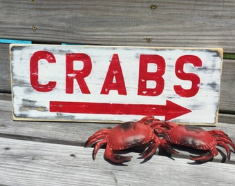Crab Sign Vintage Style Nautical and Beach Decor