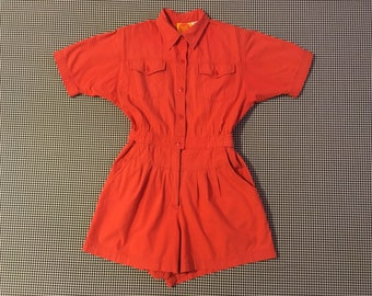 1980's, cotton, shorts romper, in salmon-terracotta, Women's size Large