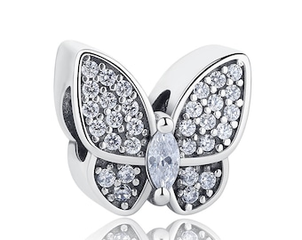 925 Sterling Silver Crystal Butterfly Charm Fit Pandora bracelet