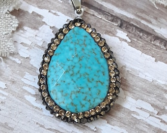 Turquoise Howlite Pendant With Crystals Jewelry Making Supplies