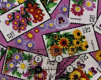 """Flower Stamps on rose 100% cotton fabric  42""""-45"""" wide"""