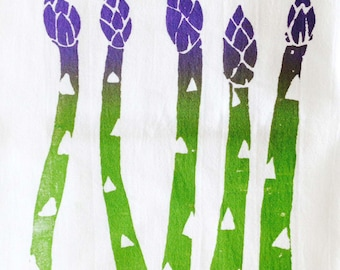 Flour-Sack towel - Printed cotton towel  ASPARAGUS