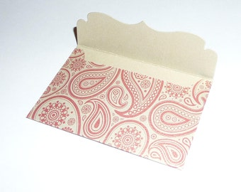 12 Shimmery Red and Gold Ornate Mini Envelope, Paisley, Blank Note Card, 3.5 X 2.5, Wedding, Gift Business Card Holder, Thank you Love Note
