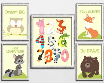 Woodland printable nursery wall decor with numbers and cute animals, bear fox owl raccoon playroom wall art kids room be brave download