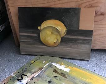Still life study, lemons.