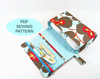 PDF sewing tutorial and pattern, make your own bag, instant download, diy sewing diaper clutch with clear zipper pouch