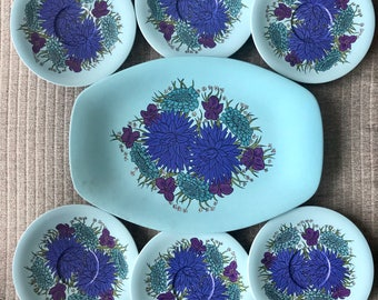 Set of 6 Melamine Bessemer Saucers and 1 Serving Platter with Blue Floral Design Bessemerware Made In Australia Nylex Corporation