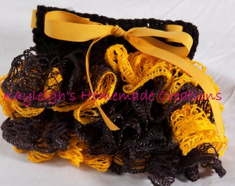 "Black & Gold Yellow Ruffle Skirt | 18"" Doll | 0-12 Mos | 1-2 years | 2-4 years | 4-6 years | Ready to ship"