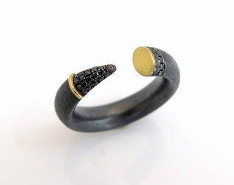 Oxidized silver ring, Black gold ring, Open diamond ring, Black diamond ring, Gold cuff ring, Unique silver rings, Silver and gold ring