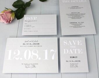 Classic Wedding Invitation Suite, Modern Minimalist Wedding Invite, Grey Elegant Invitation Suite