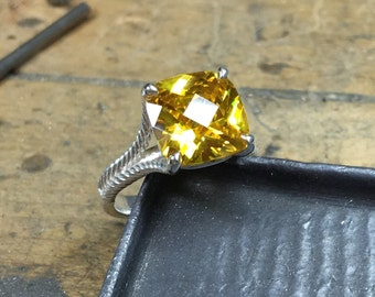 Citrine Engagement Ring, Citrine Ring, November Birthstone, Cushion Cut Citrine, Yellow Citrine Ring, Mother's Day, Bridesmaid Gift