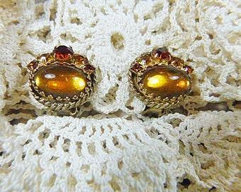 Vintage Rhinestone and Moonstone Clip Earrings - V-EAR-607 - Moonstone Earrings