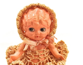 Vintage KEWPIE Doll, Celluloid Doll, Bobbed Hair, Googly eyesPenny Doll, 6 inch doll, Plastic Carnival Doll, Made in Japan, Circa 1930s