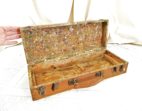 Vintage French Rectangular Wooden Artist Paint Box With Dove Tail Joins Splatters on the Inside, Retro Art Equipment Wood from France