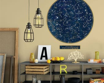 Constellations Wall Decal, Space Decals, Science Decals, Sky Decals, Removable Repositionable Eco-friendly, Poster Decal Northern Hemisphere