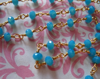 Blue Chalcedony Rosary Chain / Wire Wrapped Chain / SCUBA BLUE / Silver or Gold Plated, Wholesale Beaded Chain rc.13.sb wf solo