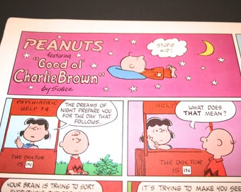 Charlie Brown,  The Doctor is In, Lucy, Dreams, Charlie Brown Peanuts Comic Strip, Retro, Color, Charles Schulz, Frame, Wall Decor