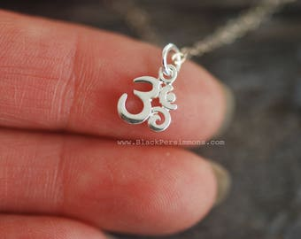 Tiny Ohm Necklace - Solid 925 Sterling Silver Yoga Omkara Symbol Auspicious Feng Shui Charm Pendant - Insurance Included