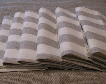 Set of 10 Grey,White Striped Linen Napkins Natural Linen Dinner Set