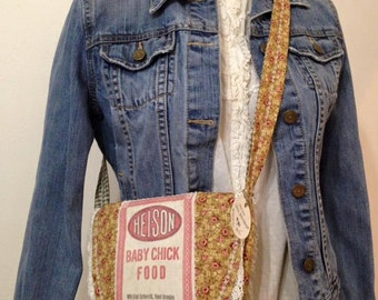 SALE ~ vintage HEI-SON Baby Chick feed sack - a Sweet Little Messenger Bag