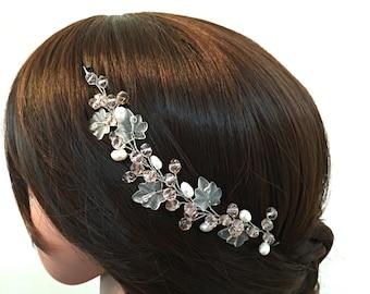 Leaf Headpiece Wedding Hair Piece Pearl Hair Accessory Bride, Bridal Hair Piece Vine Bridal Hair Piece Leaf Hair Jewelry Leaf Hair Piece