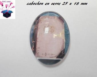 Book 1 cabochons glass 25mm x 18mm theme