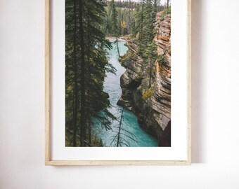 Framed Beautiful River Print - Athabasca River Canyon - Wall Decor