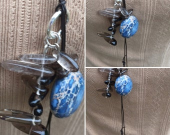 Jasper Lariat, Leather Gemstone Lariat, Handmade Quartz Lariat, Designer Jewellery, Handmade in Edinburgh, K Brown Jewellery, U.K.