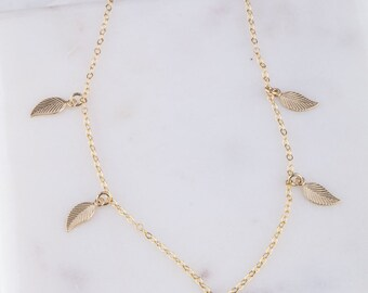 Tiny Leaf Choker, Leaf Shaker Choker Necklace in Silver OR Gold, Gold Leaf Dangle Choker, Dangle Choker, Leaf Dangle Choker, Leaf Necklace