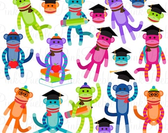 Back to School Sock Monkeys Clipart Clip Art Vectors, Great for Sock Monkey Party Invitations - Commercial and Personal Use