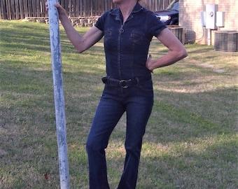Vintage 1990's Denim Bodycon Jumpsuit - Size Medium