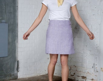 Lavender high waist mini skirt - Short A-line skirt - Sustainable womens clothing