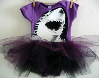 SHARK ONESIE TUTU- Shark Tutu- Purple Black- Organic Cotton - Shark Baby Shower - Shark Onesie - Shark Baby Gift