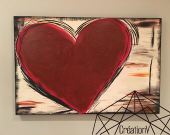 Heart canvas on wooden base