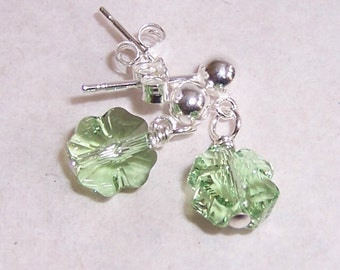 Lucky Shamrock Earrings with Swarovski Crystals and Sterling Silver Post